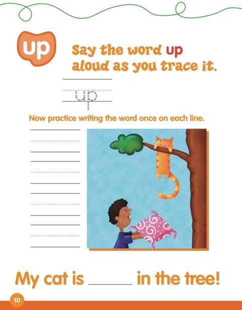 每個常見字提供一面描寫練習和簡單例句(搭配圖片更易了解)