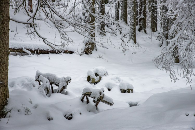 Flyvraket i Nordmarka på vinteren