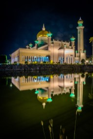 Omar Ali Saifuddien Mosque at Night
