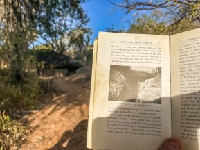 Patterson's book about killing the Man-Eaters and a photo of the same spot