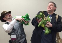 So it turns out I'm not the only author who brings his dragon to conventions. Sadly, Harry Heckel's Magdela didn't exactly play nicely with each other.