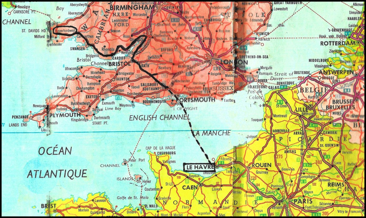 Map of LeHavre to Haverfordwest