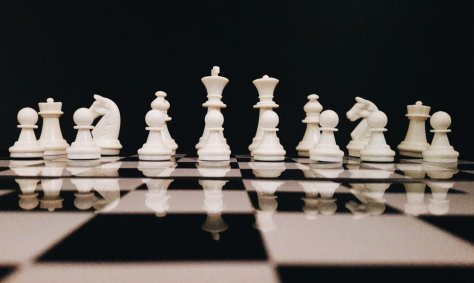 Chess set and chess board.