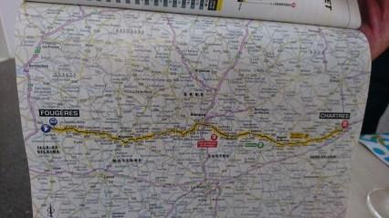 Tour De France starter ved og passere dagens rute
