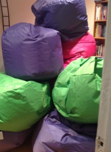Beanbags arrive....and they filled Anne's house ! The beanbags have been a huge success in our