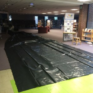 Blackout blinds. All of the Library windows are blacked out for both the Sunday afternoon and Thursday evening shows. The blinds were made from builders plastic (kindly donated to us !). Each window was carefully measured and the blind cut to fit !