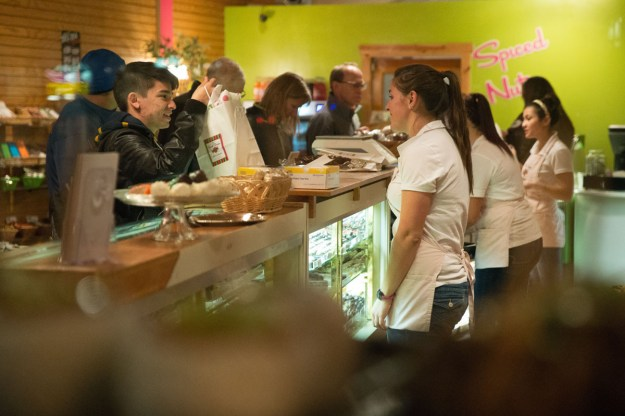 """It's a busy Friday night at """"The Sweet Shoppe"""" in historic downtown Flagstaff, Arizona. (Nikon D600, Tamron 24-70 at 70mm, f/2.8, ISO 6400, 1/250 sec.)"""