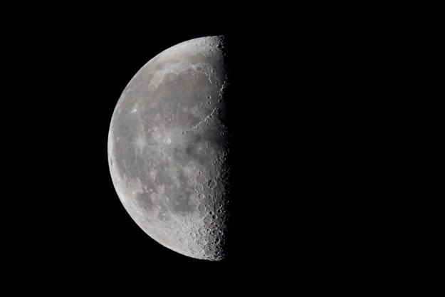 A third quarter Moon as seen on an October night in northern Arizona. This photo was taken with a Nikon D610 and 200-500mm f/5.6E at 500mm, f/5.6, ISO 900, 1/800-second. It has been cropped and processed to taste in Adobe Lightroom. (Bill Ferris)