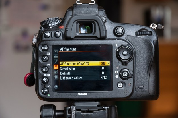 Entering the AF fine-tune menu, the first option is where you select, ON or OFF, for this control. The second setting is the Saved Value for the lens. (Bill Ferris)