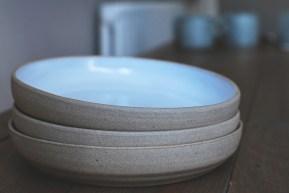 Stoneware Side Plates with Matt White Glaze