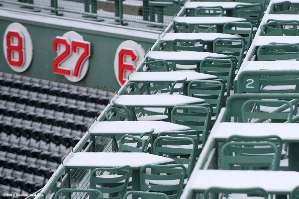 """""""Snow falls onto the right field deck at Fenway Park in Boston, Massachusetts Saturday, December 1, 2012."""""""