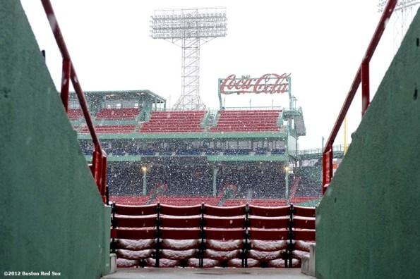 """Snow falls over Fenway Park in Boston, Massachusetts Saturday, December 1, 2012."""
