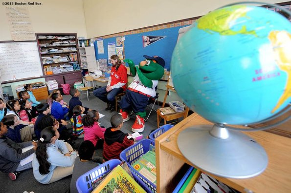 """""""Boston Red Sox pitcher Andrew Miller (left) and outfielder Daniel Nava (right) answer questions during a visit to the Mather School in Dorchester, Massachusetts Friday, January 25, 2013. The Mather School , founded in 1639, is the oldest public elementary school in the United States."""""""