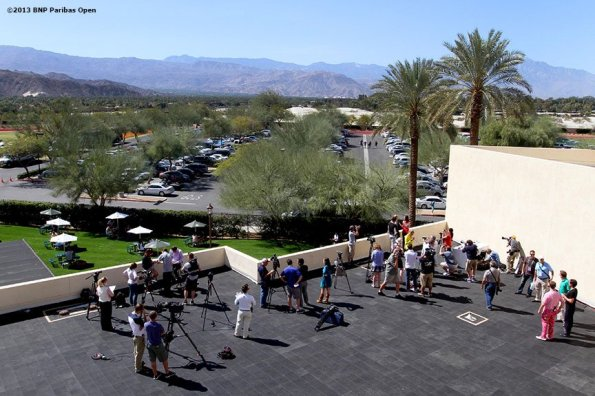 """""""Members of the media gather on the rooftop of Stadium One at the Indian Wells Tennis Garden in Palm Springs, California for WTA All-Access Day on day one of the BNP Paribas Open Wednesday, March 6, 2013."""""""