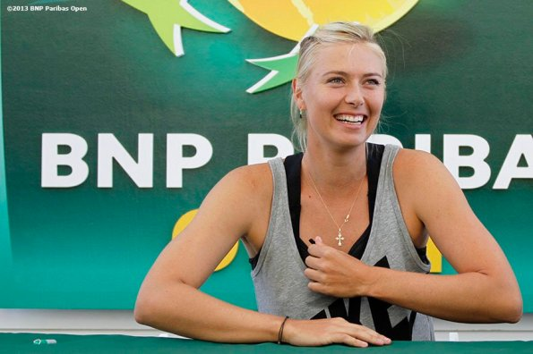 """""""Maria Sharapova hosts a promotion for 'Sugarpova,' her line of gummy candies, at the Indian Wells Tennis Garden in Palm Springs, California on day one of the BNP Paribas Open Wednesday, March 6, 2013."""""""