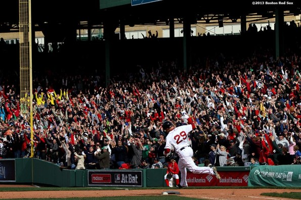 """""""Boston Red Sox outfielder Daniel Nava celebrates as he rounds the bases after hitting the game-winning 3-run home run during the eighth inning of a game against the Kansas City Royals Saturday, April 20, 2013. It was the first Red Sox home game since the attacks on the 2013 Boston Marathon."""""""