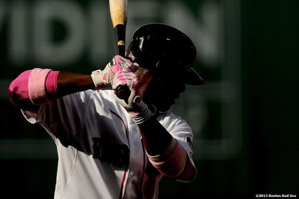 """""""Boston Red Sox infielder Pedro Ciriaco takes practice swings during the the ninth inning of a game against the Toronto Blue Jays Sunday, May 12, 2013 at Fenway Park in Boston, Massachusetts."""""""