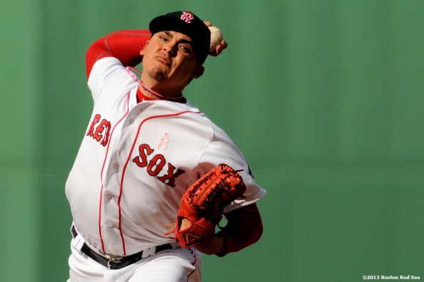 """""""Boston Red Sox pitcher Jose De La Torre makes his Major League debut during the ninth inning of a game against the Toronto Blue Jays Sunday, May 12, 2013 at Fenway Park in Boston, Massachusetts."""""""
