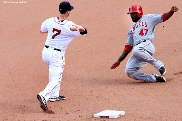 """""""Boston Red Sox shortstop Stephen Drew turns a double play during the   eighth inning of a game against the Los Angeles Angels of Anaheim Sunday, June 9, 2013 at Fenway Park in Boston, Massachusetts."""""""