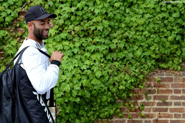 """""""James Blake smiles at the Aorangi Practice Courts at the All England Lawn and Tennis Club in London, England Thursday, June 27, 2013 during the 2013 Championships Wimbledon."""""""