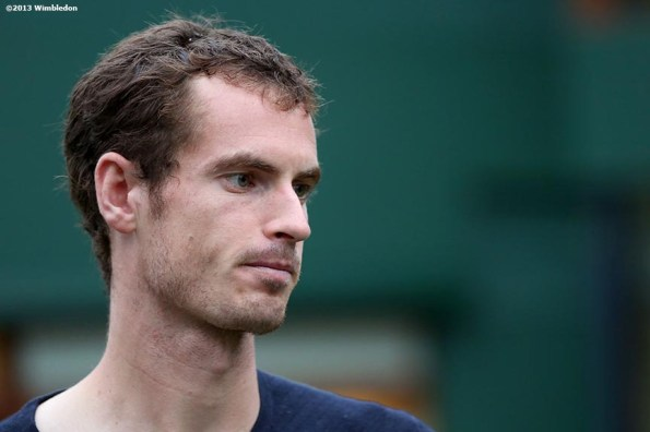 """""""Andy Murray is interviewed on the players lawn at the All England Lawn and Tennis Club in London, England Friday, June 27, 2013 during the 2013 Championships Wimbledon."""""""
