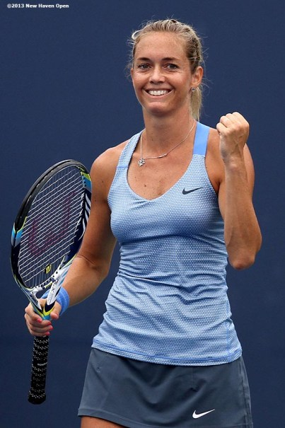 """""""Klara Zakapalova celebrates after defeating Dominica Cibulkova on Day 4 of the New Haven Open at Yale University in New Haven, Connecticut Monday, August 19, 2013."""""""