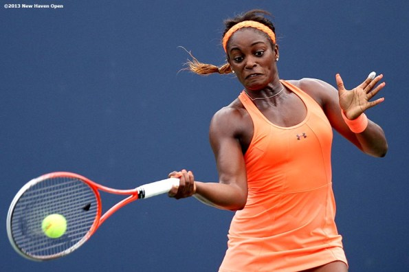 """""""Sloane Stephens connects on a forehand on Day 4 of the New Haven Open at Yale University in New Haven, Connecticut Monday, August 19, 2013."""""""