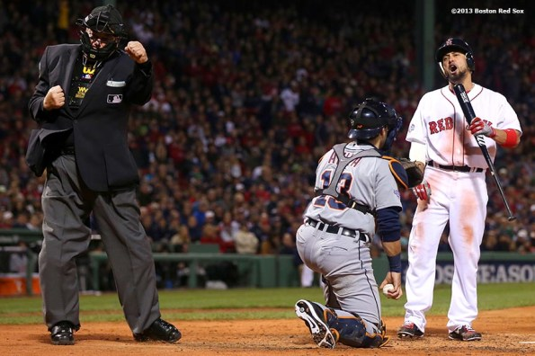 """""""Boston Red Sox right fielder Shane Victorino reacts after striking out during the third inning of game one of the American League Championship Series against the Detroit Tigers Saturday, October 12, 2013 at Fenway Park in Boston, Massachusetts."""""""