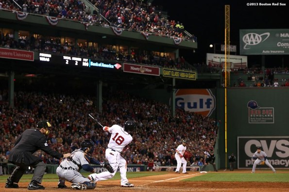 """""""Boston Red Sox right fielder Shane Victorino hits a go-ahead grand slam home run during the seventh inning of game six of the American League Championship Series against the Detroit Tigers Saturday, October 19, 2013 at Fenway Park in Boston, Massachusetts."""""""
