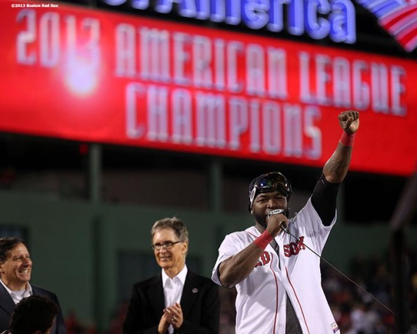 """""""Boston Red Sox designated hitter David Ortiz gestures to fans during an on-field celebration after winning game six of the American League Championship Series against the Detroit Tigers and advancing to the World Series Saturday, October 19, 2013 at Fenway Park in Boston, Massachusetts."""""""