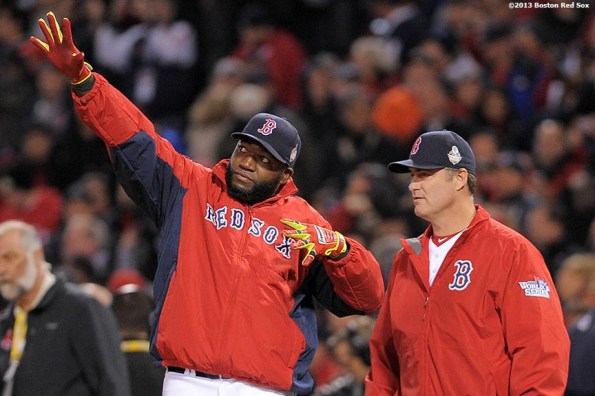 """""""Boston Red Sox designated hitter David Ortiz celebrates after defeating the St. Lousi Cardinals in  game one of the 2013 World Series Wednesday, October 23, 2013 at Fenway Park in Boston, Massachusetts."""""""