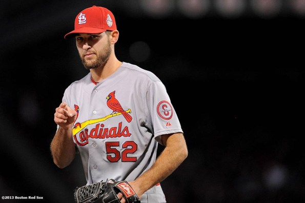 """""""St. Louis Cardinals pitcher Michael Wacha gestures during the fifth inning of game two of the 2013 World Series between against the St. Louis Cardinals Thursday, October 24, 2013 at Fenway Park in Boston, Massachusetts."""""""