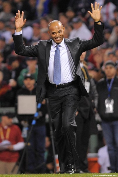 """""""Retired New York Yankees Closer Mariano Rivera is honored with the Commissioner's Historic Achievement Award during a pre-game ceremony before game two of the 2013 World Series between the Boston Red Sox and the St. Louis Cardinals Thursday, October 24, 2013 at Fenway Park in Boston, Massachusetts."""""""