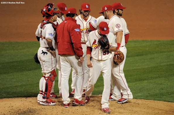 """""""St. Louis Cardinals pitcher Joe Kelly exits the game during the sixth inning of game three of the 2013 World Series against the St. Louis Cardinals Saturday, October 26, 2013 at Busch Stadium in St. Louis, Missouri."""""""