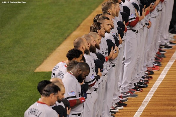 """""""Starting lineups are introduced during a pre-game ceremony before game three of the 2013 World Series between the Boston Red Sox and the St. Louis Cardinals at Busch Stadium Saturday, October 26, 2013 at Busch Stadium in St. Louis, Missouri."""""""