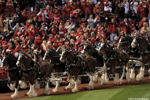 """""""Clydesdale horses take a lap around the field during a pre-game ceremony before game four of the 2013 World Series between the Boston Red Sox and the St. Louis Cardinals Sunday, October 27, 2013 at Busch Stadium in St. Louis, Missouri."""""""
