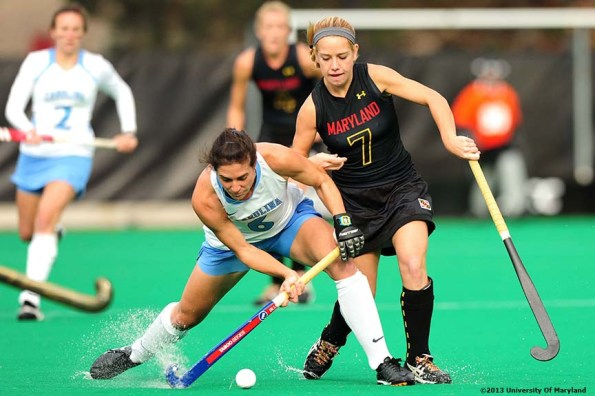 """""""University of Maryland foreword Emma Rissinger defends University of North Carolina Midfielder Tayler Evans during the ACC Field Hockey Conference Championship game Sunday, November 10, 2013 at Boston College in Newton, Massachusetts."""""""