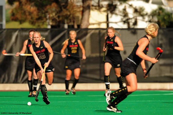 """""""University of Maryland foreword Jill Witmer advances up field during the ACC Field Hockey Conference Championship game against the University of North Carolina Sunday, November 10, 2013 at Boston College in Newton, Massachusetts."""""""