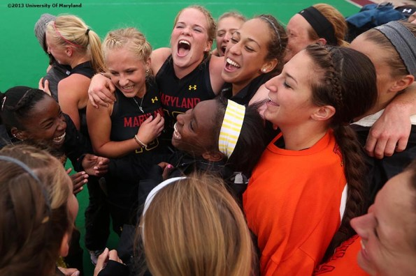 """""""University of Maryland field hockey players celebrate after defeating the University of North Carolina to win ACC Field Hockey Conference Championship game against the University of North Carolina Sunday, November 10, 2013 at Boston College in Newton, Massachusetts."""""""