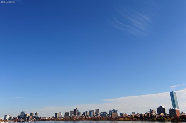 """""""The Boston Skyline is shown during the Rolling Rally World Series Championship Parade through downtown Boston, Massachusetts Saturday, November 2, 2013."""""""