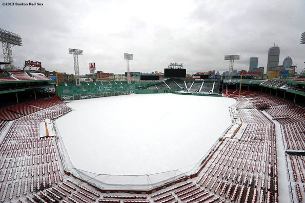 """""""Fenway Park is shown covered in snow Monday, February 11, 2013 after Winter Storm Nemo dumped over twenty inches of snow onto the city of Boston, Massachusetts."""""""