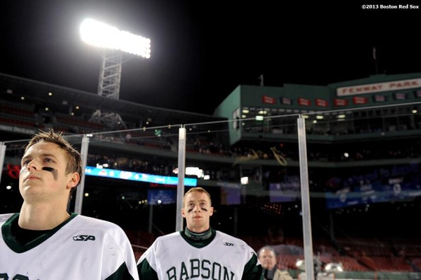"""""""Starting lineups are introduced before a game between Babson College and Norwich University at Frozen Fenway Thursday, January 9, 2014 at Fenway Park in Boston, Massachusetts."""""""