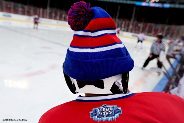 """""""A University of Massachusetts Lowell goalie's hat is shown during a game against Northeastern University at Frozen Fenway Saturday, January 11, 2014 at Fenway Park in Boston, Massachusetts."""""""