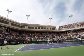 """""""Roger Federer and Stan Wawrinka play a first round doubles match against Rohan Bopanna and Aisam-Ul-Haq Qureshi at the 2014 BNP Paribas Open in Indian Wells, California Friday, March 7, 2014."""""""