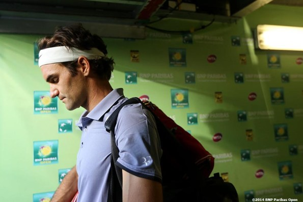 """""""Roger Federer walks out of the tunnel before playing Tommy Haas at the 2014 BNP Paribas Open Wednesday, March 12, 2014 in Indian Wells, California."""""""