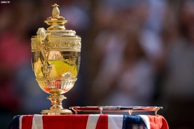 """""""The championship trophies are shown following the gentlemen's singles final between Novak Djokovic and Roger Federer at the All England Lawn and Tennis Club in London, England Sunday, July 6, 2014 during the 2014 Championships Wimbledon."""""""