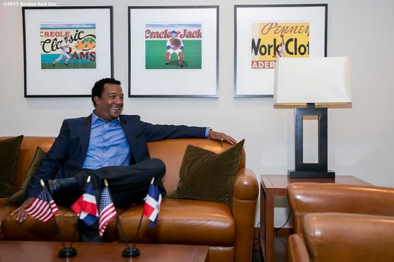 """""""Former Boston Red Sox pitcher Pedro Martinez talks on a conference call with baseball writers after being informed that he was inducted into the Major League Baseball Hall of Fame at Fenway Park in Boston, Massachusetts Tuesday, January 6, 2015."""""""