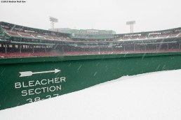 """""""The bleacher section is shown as snow falls at Fenway Park in Boston, Massachusetts Friday, January 30, 2015. """""""