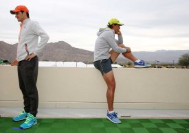 """""""Roger Federer and Rafael Nadal take part in the ATP All-Access Hour at the Indian Wells Tennis Garden in Indian Wells, California Tuesday, March 11, 2015."""""""