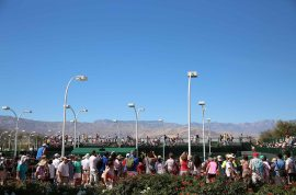 """""""Fans watch the doubles match action at Stadium 9 at the Indian Wells Tennis Garden in Indian Wells, California on Friday, March 13, 2015."""""""